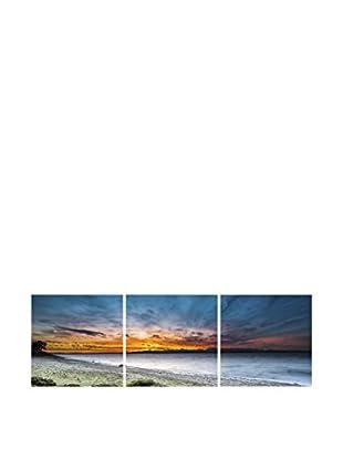 LO+DEMODA Leinwandbild 3 tlg. Set Blue And Orange Sky