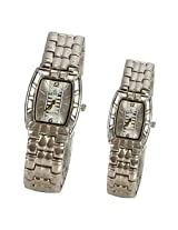 Little India Share Perfect Moment Lovely Dial Square Shape Silver Wrist Watch Pair - DLI3WPR302M