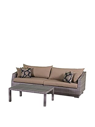 RST Brands Cannes 2-Piece Sofa & Coffee Table Set, Red