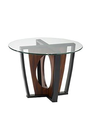 Armen Living Decca Round Glass-Top Lamp Table, Espresso