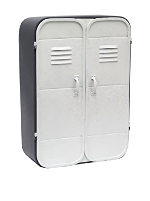 Three Hands 22439 Metal Cabinet With 2 Doors, Dark Grey/Light Grey, 21.3x6.5x15.4