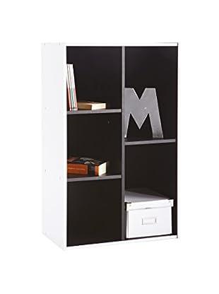 13casa Librería Simply D18 Blanco/Negro