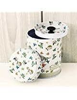 Double Cover Cylindrical Cans Tea Coffee Candy Storage Tin Box