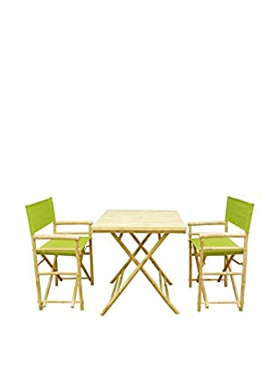 ZEW, Inc. Square Table & Director Chair Set, Green