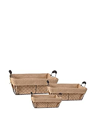 Set of 3 Wire Baskets with Burlap Lining