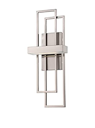Nuvo Lighting Frame 1-Light LED Vanity & Wall Sconce, Brushed Nickel/Frosted Glass