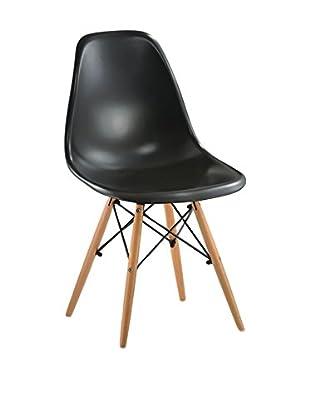 Lo+Demoda Set Silla 2 Uds. Wooden Negro