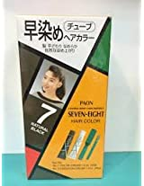 PAON SEVEN-EIGHT PERMANENT HAIR COLOR #7 NATURAL BLACK -Tube 1 Color Cream 1.4 Oz - Tube 2 Oxidation Cream 1.4 Oz with Comb and Brush Box