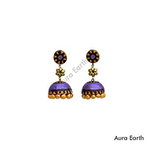 AUrA-EArTH Violet Jhumkas