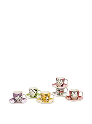 Tognana  Kaffeetasse mit Untertasse 6er Set Milk&Cof Happy mehrfarbig
