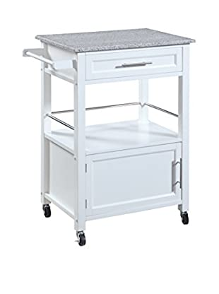 Linon Home Décor Mitchell Kitchen Cart with Granite Top, White