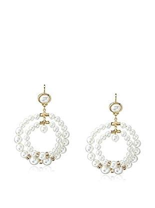 Kenneth Jay Lane Faux Pearl Double Circle Earrings