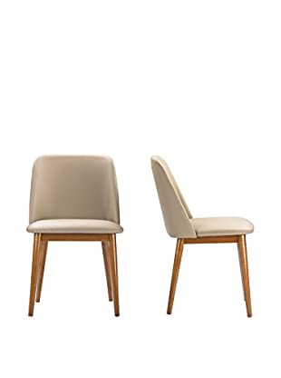 Baxton Studio Lavin Set of 2 Dining Chairs, Brown Walnut/Beige
