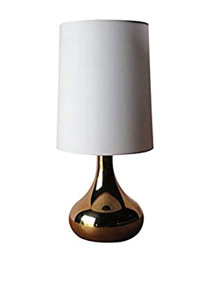 Copper Electroplate Glass Table Lamp, White/Gold