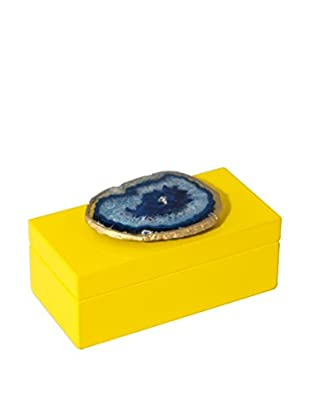 Mapleton Drive Medium Yellow Lacquer Box with Blue Agate