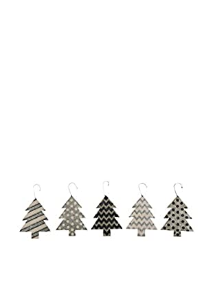 Black/Cream Tin Tree Ornaments