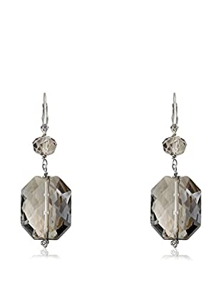 Riccova Avant-Garde Rhodium Plated Clear and Bronze Square Dangle Crystal Leverback Earrings