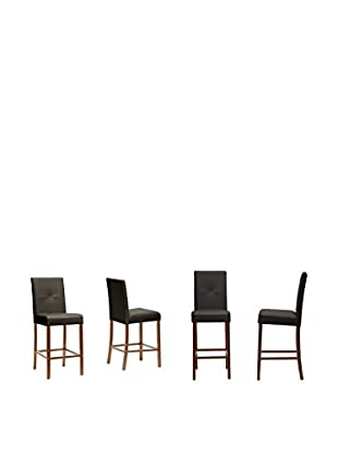 Baxton Studio Set of 4 Curtis Modern Counter Stools, Dark Brown