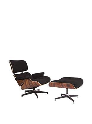 LeisureMod Modern Plywood Zane Lounge Chair & Ottoman