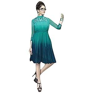 Viva N Diva Georgette Kurti - 1003 (Sea Green)
