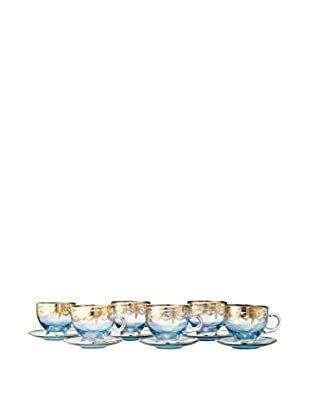A Casa K Melodia Set of 6 Engraved Crystal Lory 6.4-Oz. Tea Cups & Saucers, Blue/Gold