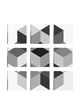Kaleidoscopic Black & White 9-Tile Giclée on Canvas