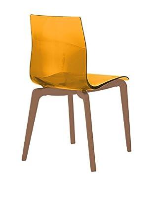 Domitalia Gel Chair, Transparent Orange/Brown