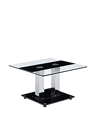 Luxury Home Striped Glass End Table, Black/White