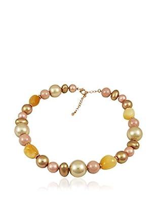 Devota & Lomba Halskette rosa/goldfarben