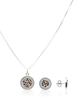 Silver One Conjunto de collar y pendientes Greca Colors Cristal
