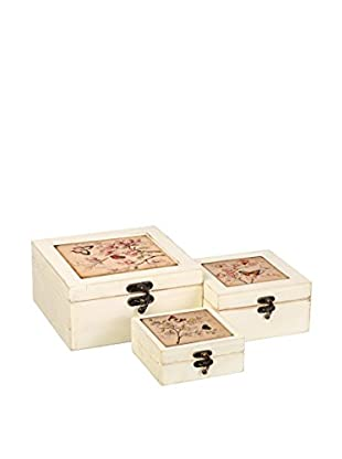 Romantic Style Set Caja de Almacenamiento 3 Uds. Butterfly Crudo