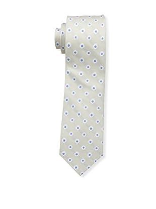 Bruno Piattelli Men's Flower Neat Silk Tie, Ecru