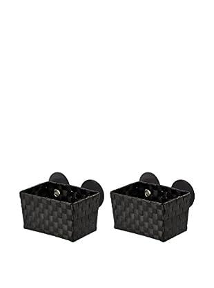 Wenko Aufbewahrungskorb 2er Set schwarz 20,5 x 14,5 x 14