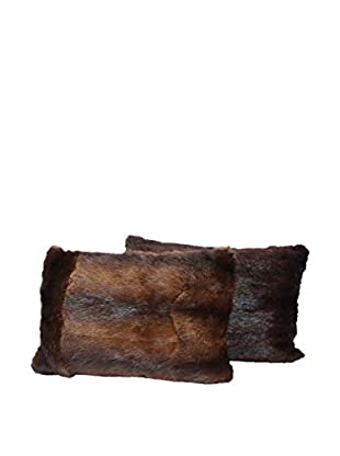 Set of 2 Brown Mink Pillows, Pair IV, 14