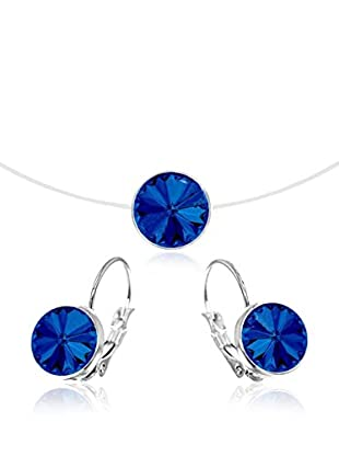 So Charm with Crystals from Swarovski Conjunto de cordón y pendientes  Azul