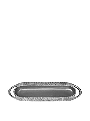 Oval Tray with Embossed Border, Silver