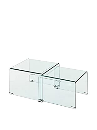 Contemporary Office Set Mesa Auxiliar 2 Uds. Cristaldouble Multicolore
