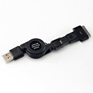 サンワダイレクト トリプルUSB巻き取りケーブル Dockコネクタ/マイクロUSB/ミニUSBコネクタ 付 iPad iPad2 iPhone スマートフォン PSP 対応 500-USB015