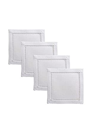 Henry Handwork Set of 4 Pure Linen Embroidered Cocktail Napkins, White