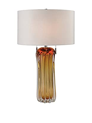 Artistic Free Blown Glass Table Lamp, Amber