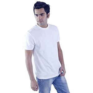 Men's White Round Neck Plain T-Shirt Half Sleeve