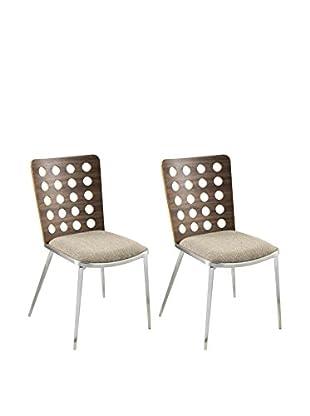 Armen Living Elton Set of 2 Modern Dining Chairs, Brown
