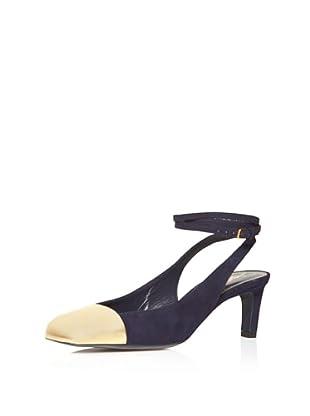YSL Women's Ingenue Ankle Strap Pump (Navy/Gold)