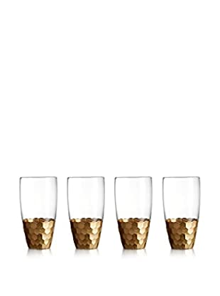 Jay Imports Set of 4 Daphne Gold Highball Glasses, Clear/Gold, 17.6-Oz.