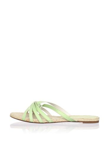 Delman Women's Blair Flat Sandal (Green Apple)