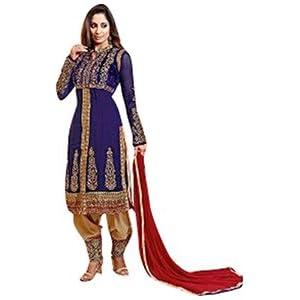 Anarkali Suit Sangeeta Ghosh Neck Designer Navyblue Embroidered