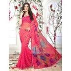 Pink & Rani Super Net Saree With Unstitch Art Silk Blouse