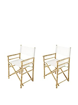 ZEW, Inc. Set of 2 Bamboo Director Chairs, White