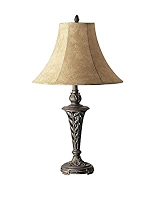ORE International Floral Table Lamp, Antique Brass