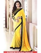 Abhaysri Fashion Bollywood Replica Sophie Choudhry Yellow Colour Georgette Fabric Party Wedding Wear Saree